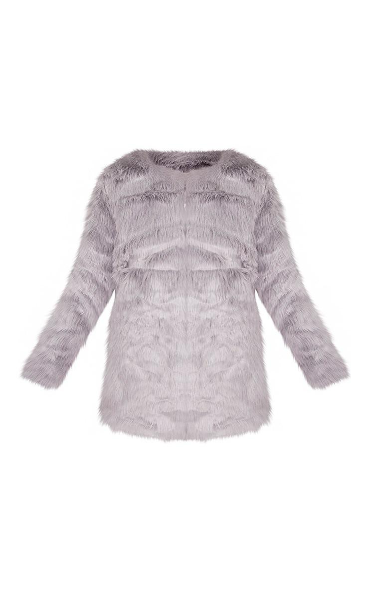 Florencia manteau en fausse fourrure gris 3
