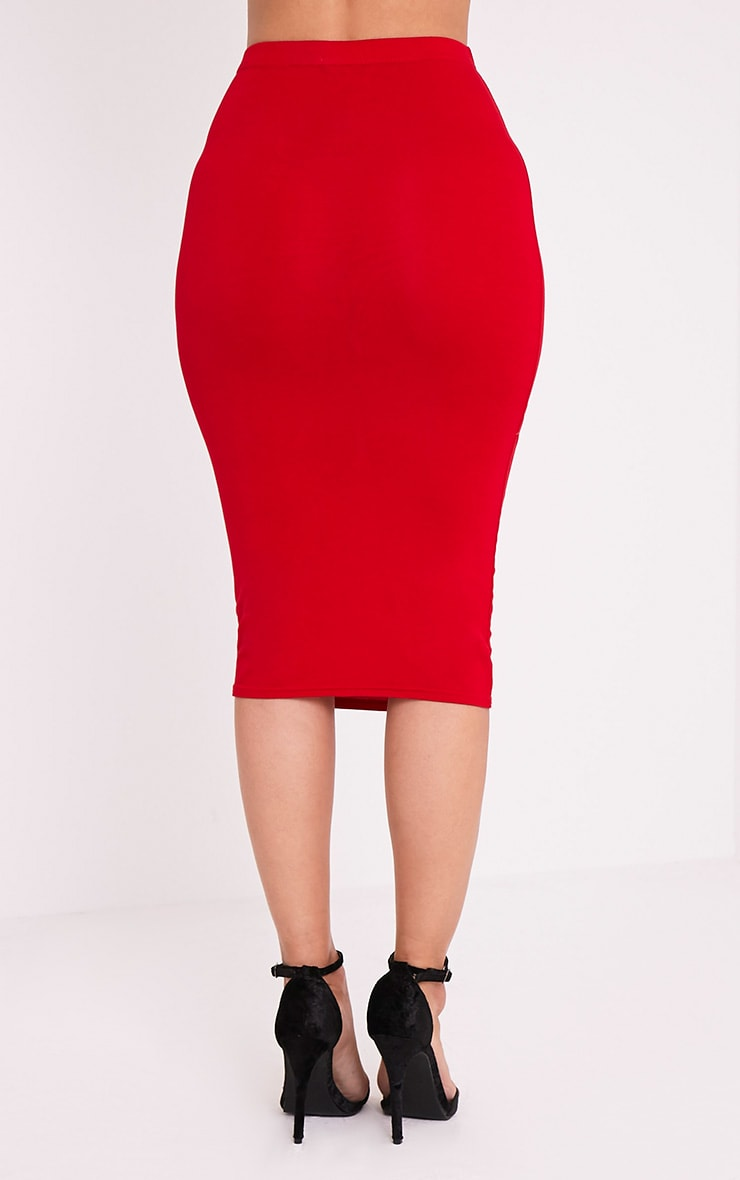 Basic Red Jersey Midi Skirt 5