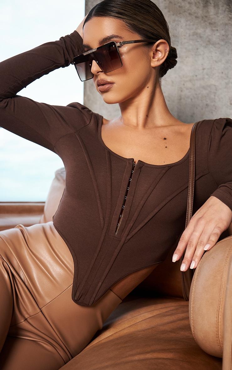Chocolate Jersey Long Sleeve Pointed Hem Corset 3