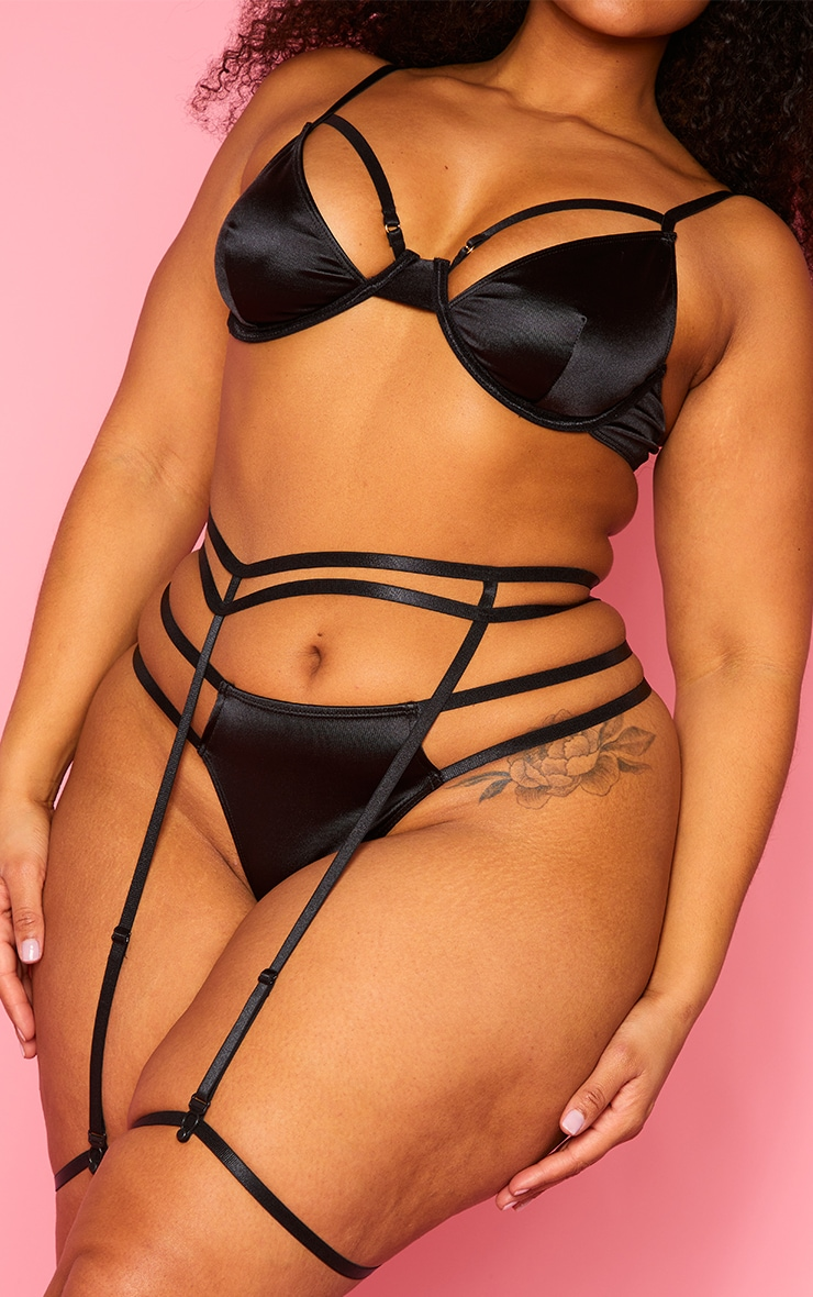 Plus Black Double Strap Underwired Satin 3 Piece Lingerie Set 4