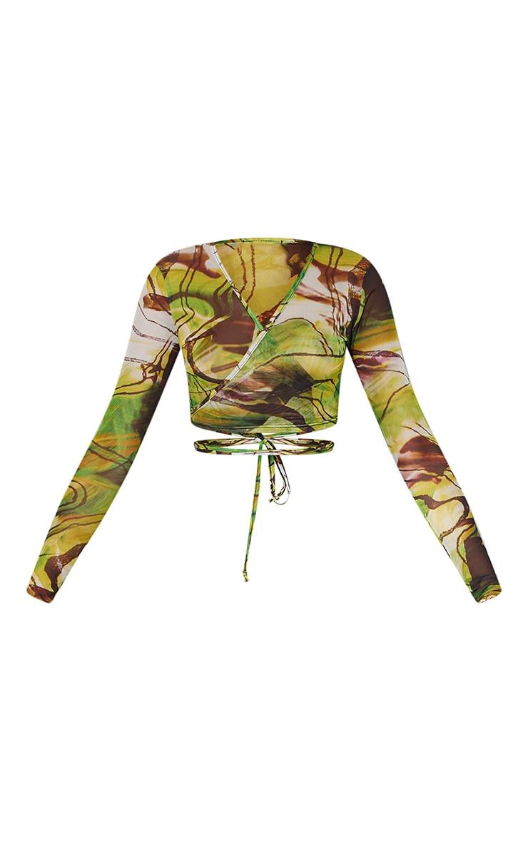 Lime Abstract Printed Mesh Tie Detail Long Sleeve Crop Top 5