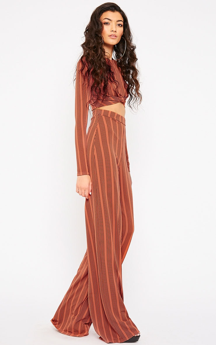 Zafia Rust Stripe Knot Front Crop Top 3