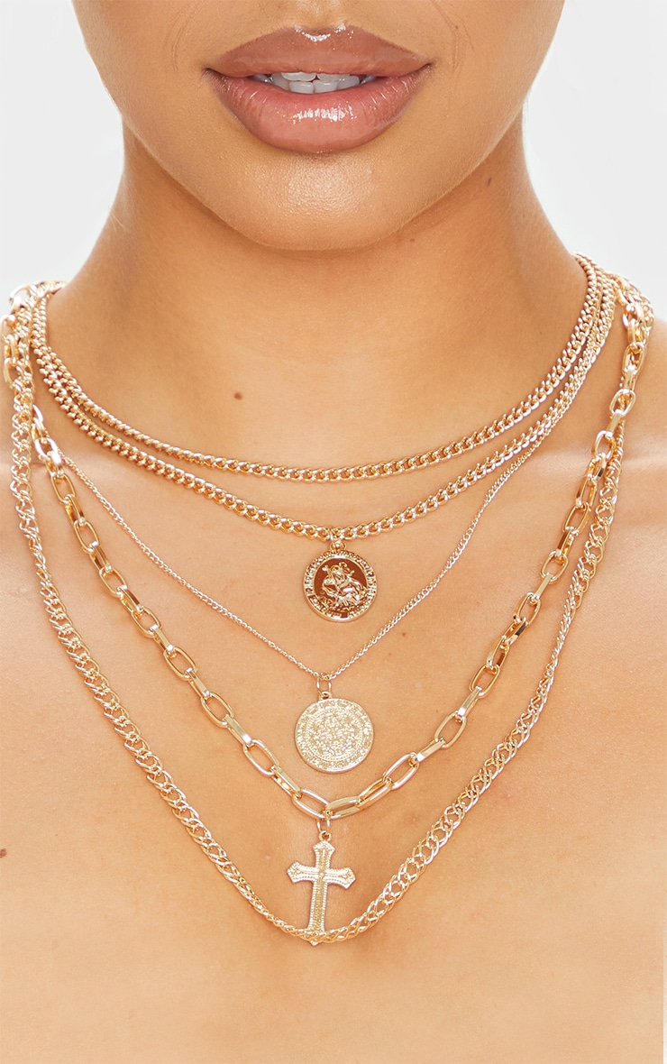 Gold Multi Coin And Cross Layering Necklace 2
