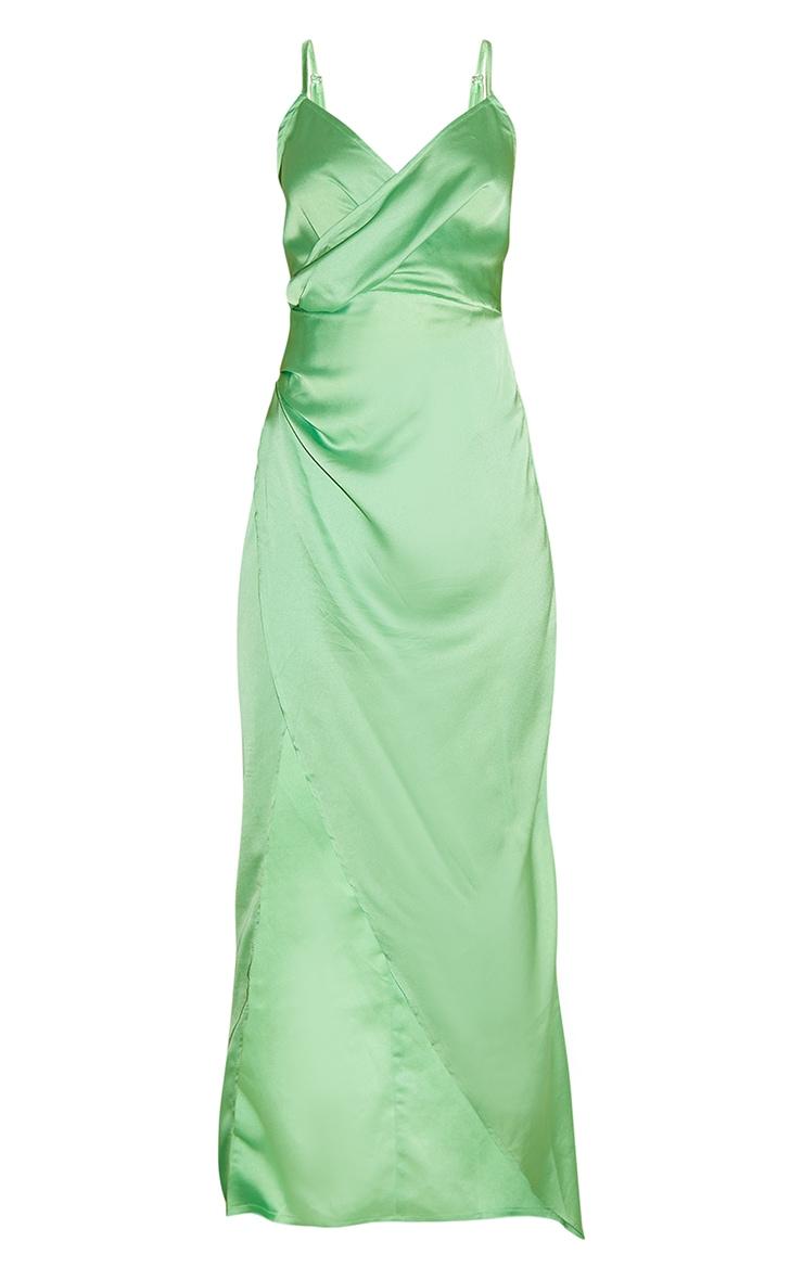 Petite Green Satin Wrap Detail Maxi Dress 5