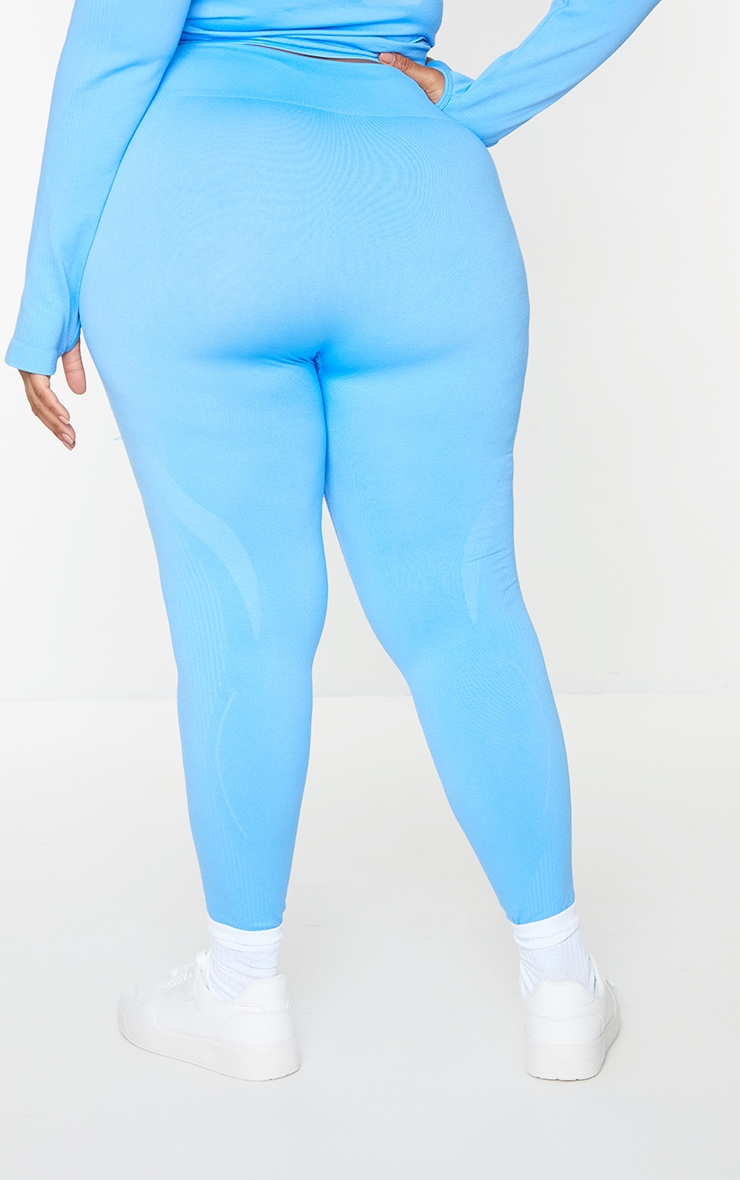 Plus Bright Blue Basic Detail Seamless High Waist Gym Leggings 3