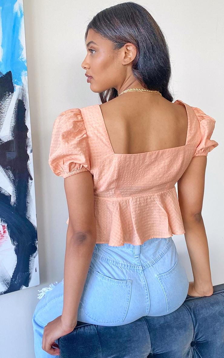 Tall Peach Button Detail Puff Sleeve Blouse 2