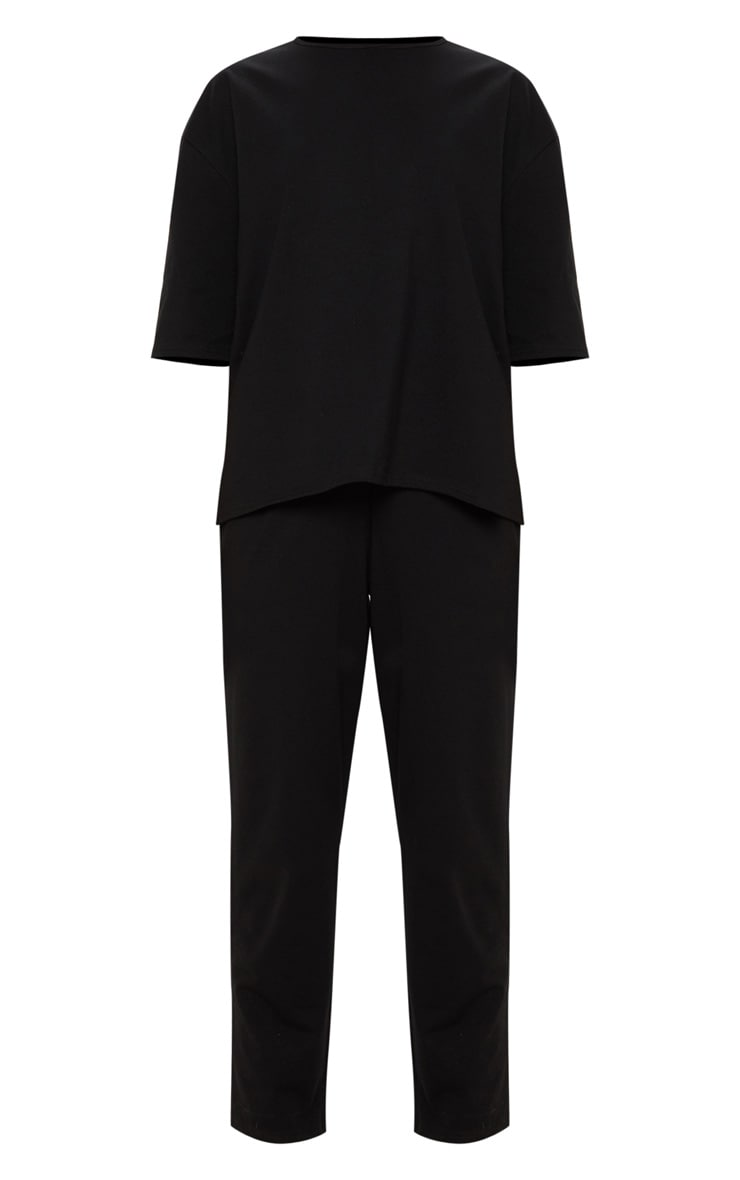 Black Jersey Crew Neck Boxy T Shirt & Trouser Set 1