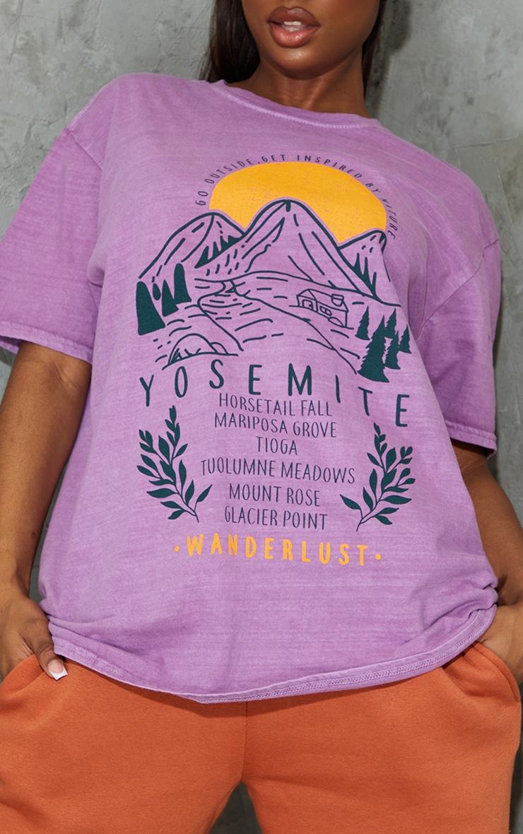 Mauve Wanderlust Back Printed Washed T Shirt 4