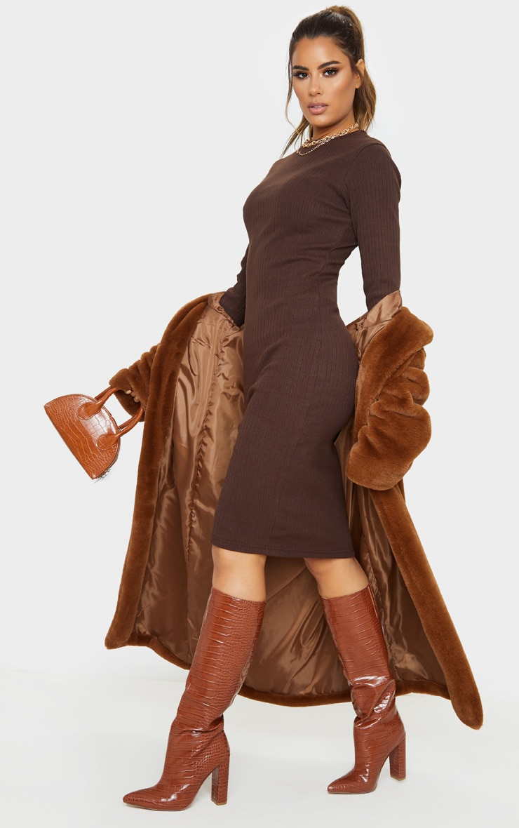 Tall Chocolate Brown Knitted Long Sleeve Midi Dress 4