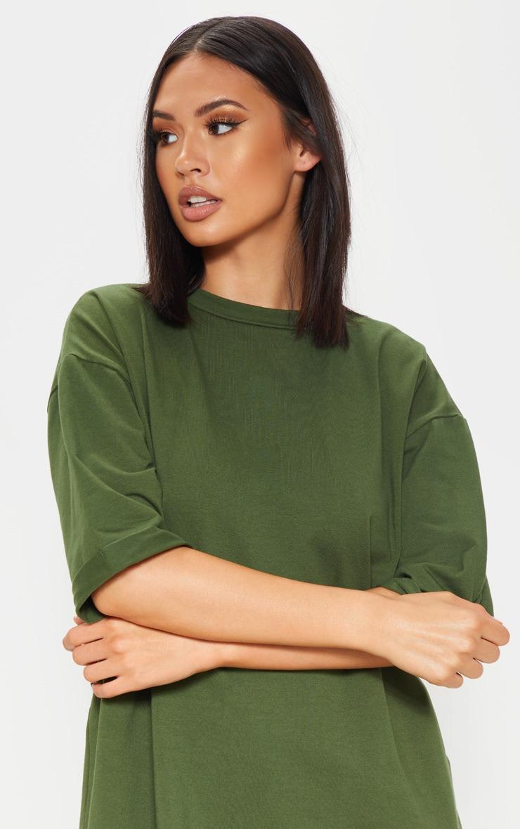 Khaki Oversized Boyfriend T Shirt Dress 5