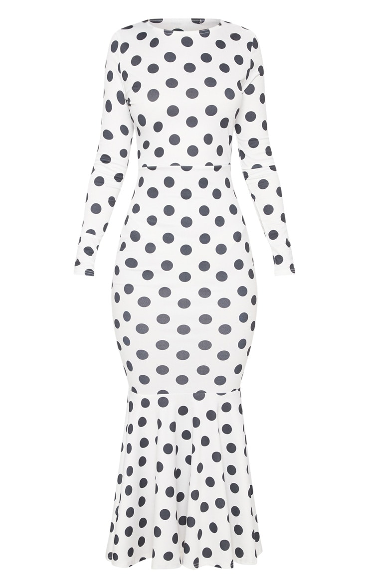 White Polka Dot Fishtail Midaxi Dress 3