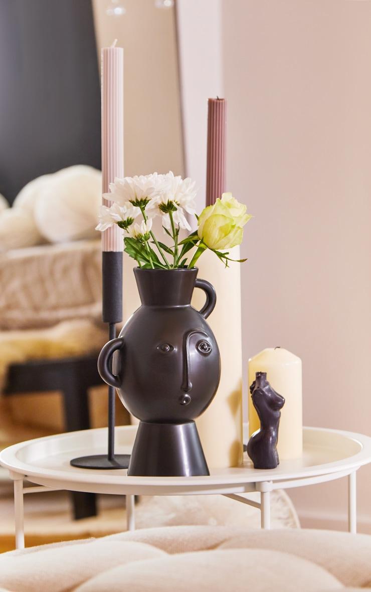 Amira Face Vase With Handles Matte Black 1