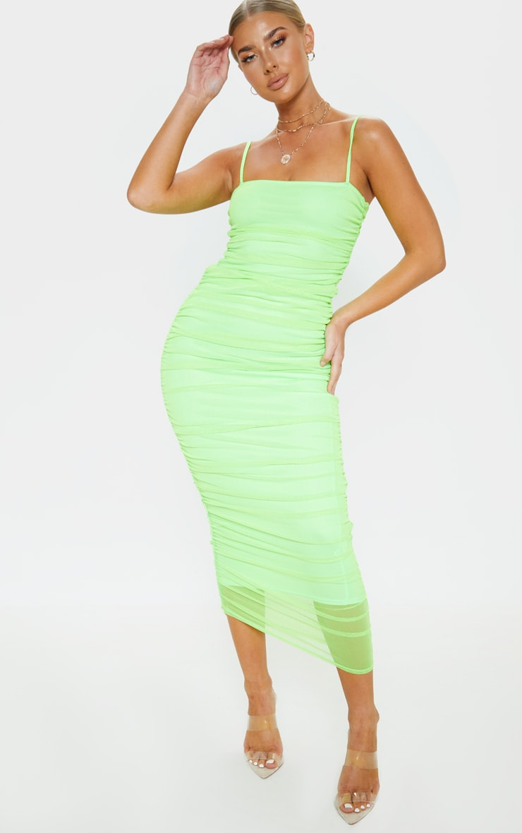 Neon Lime Strappy Mesh Ruched Midaxi Dress 4