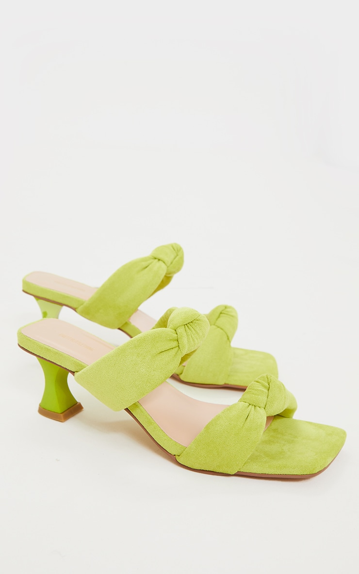 Lime Padded Knotted Twin Strap Low Heel Mules 4