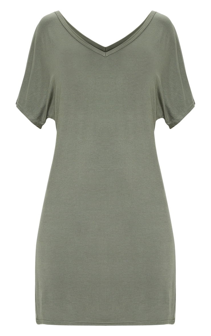 Basic Khaki V Neck T Shirt Dress 3