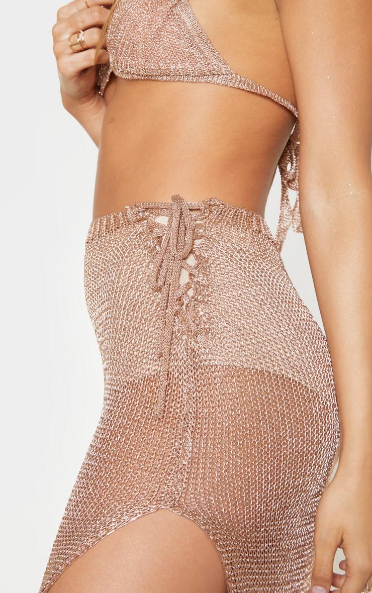 Rose Gold Metallic Knitted Maxi Skirt 6