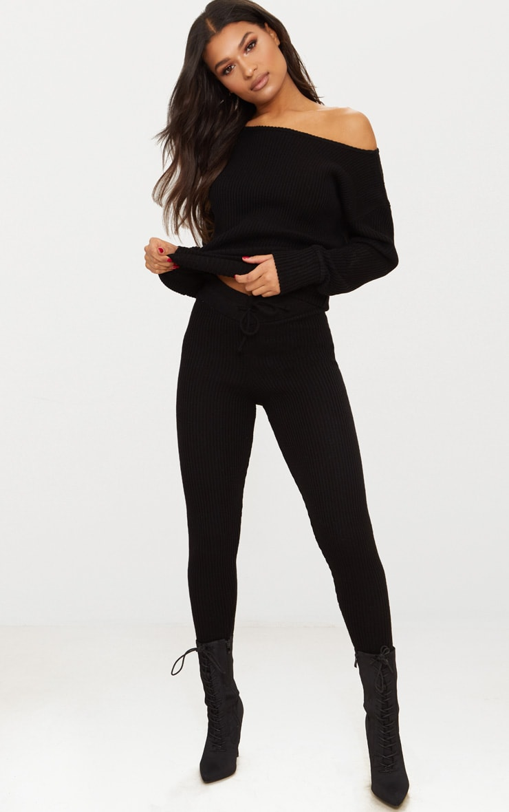 Black Knitted Rib Jogger Co Ord 4