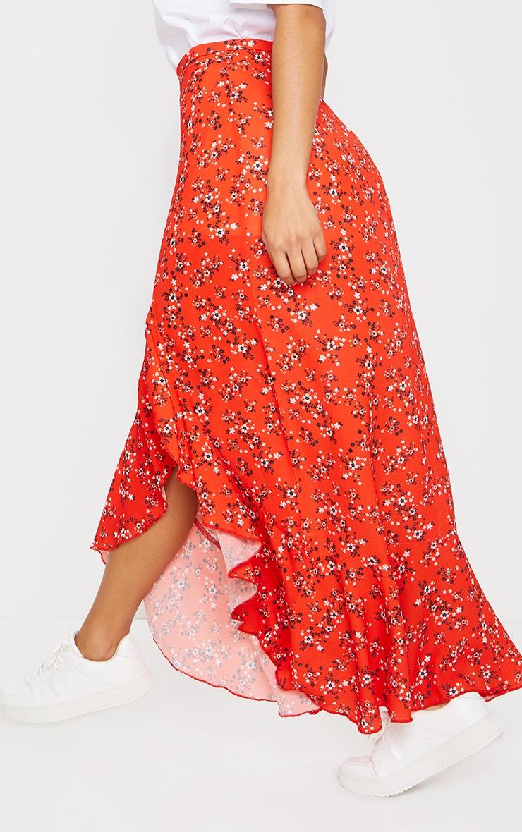 Red Ditsy Floral Frill Hem Wrap Maxi Skirt 3