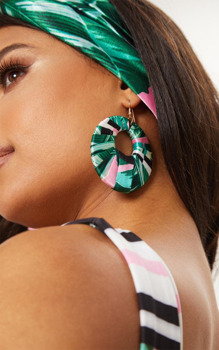 Pink Palm Leaf Print Hoop Earrings 5