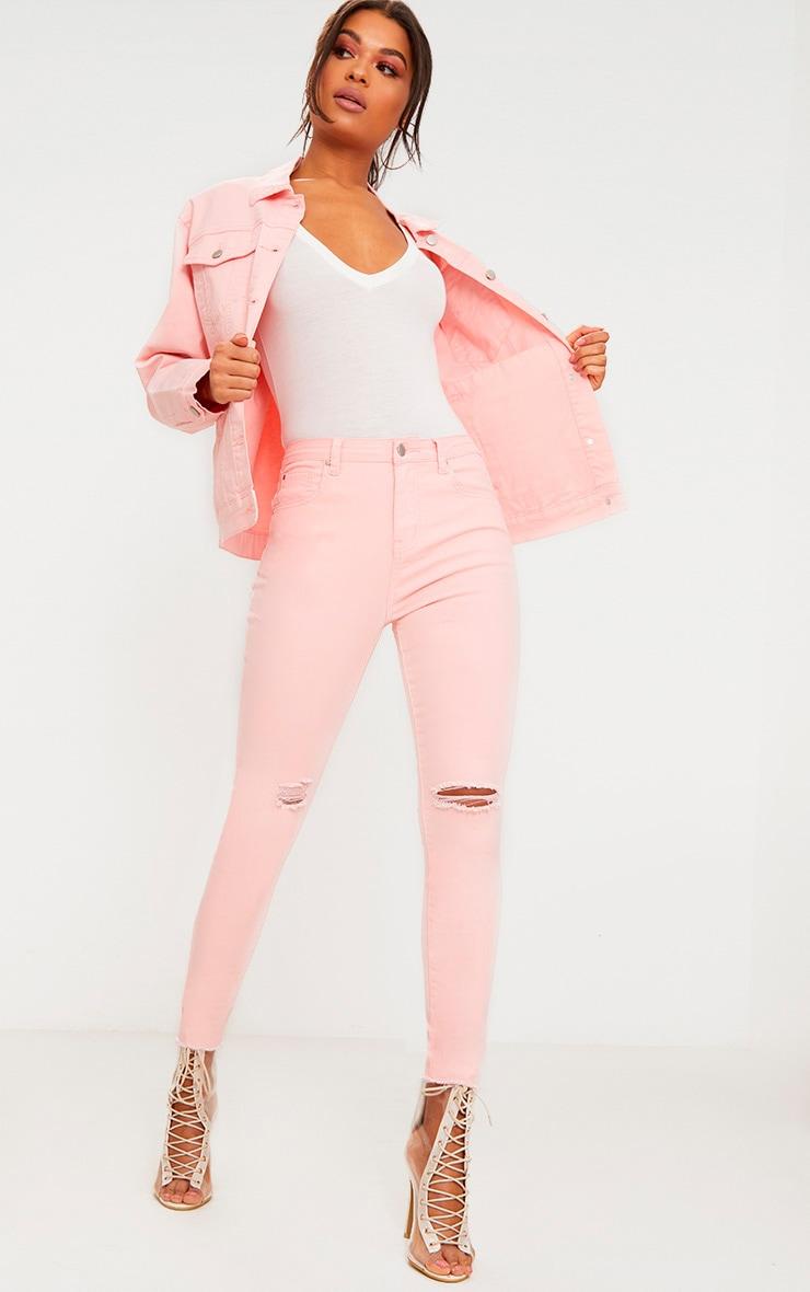 Baby Pink Rip Knee Skinny Jean 1