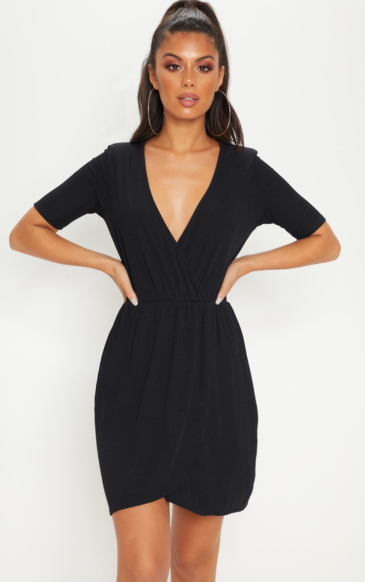 Black Wrap V Neck Short Sleeve Rib Dress
