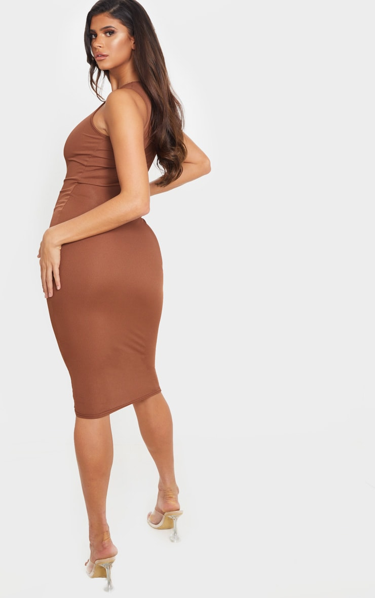 Chocolate Brown Ribbed Midi Dress 2