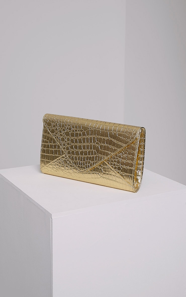 Janie Gold Metallic Croc Clutch Bag 1