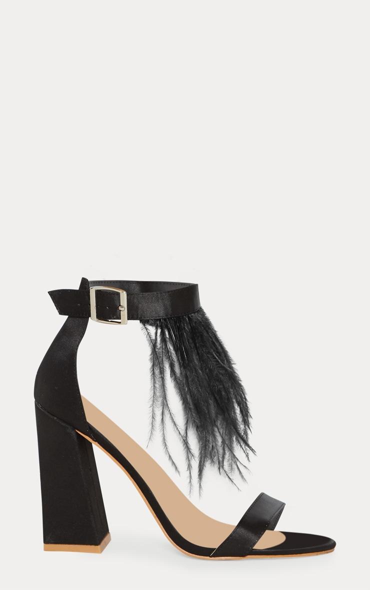 Black Feather Block Heel Sandal 3