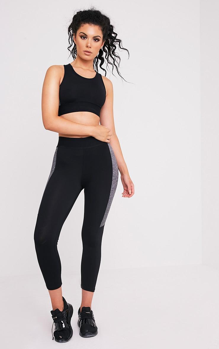 Isadora leggings de gym à empiècement noirs 1