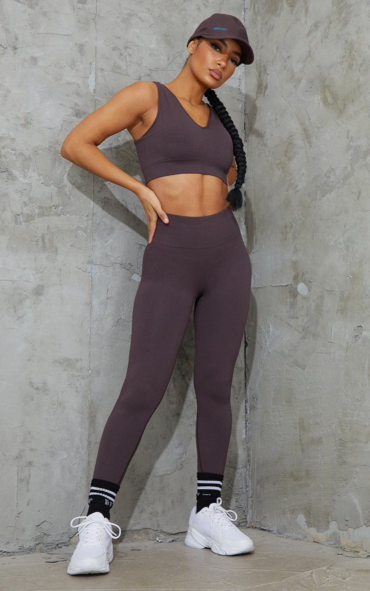 Chocolate V Neck Padded Textured Seamless Sports Bra 3