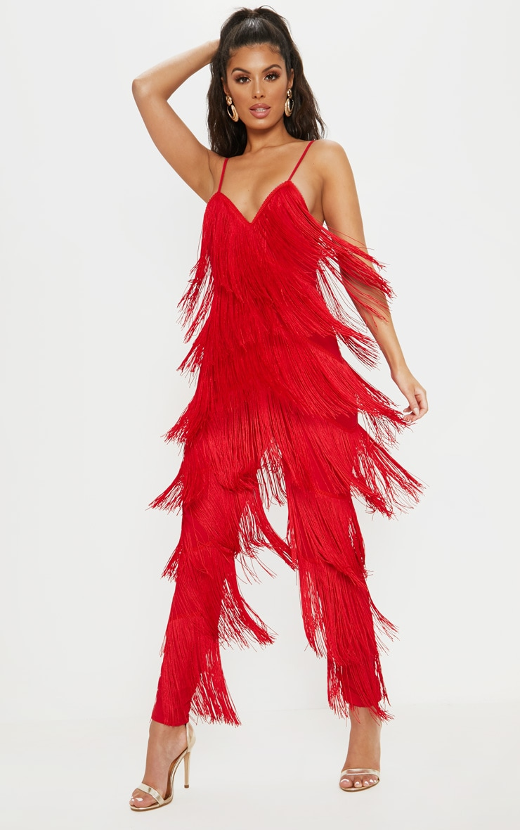 Red Tassel Plunge Jumpsuit 1