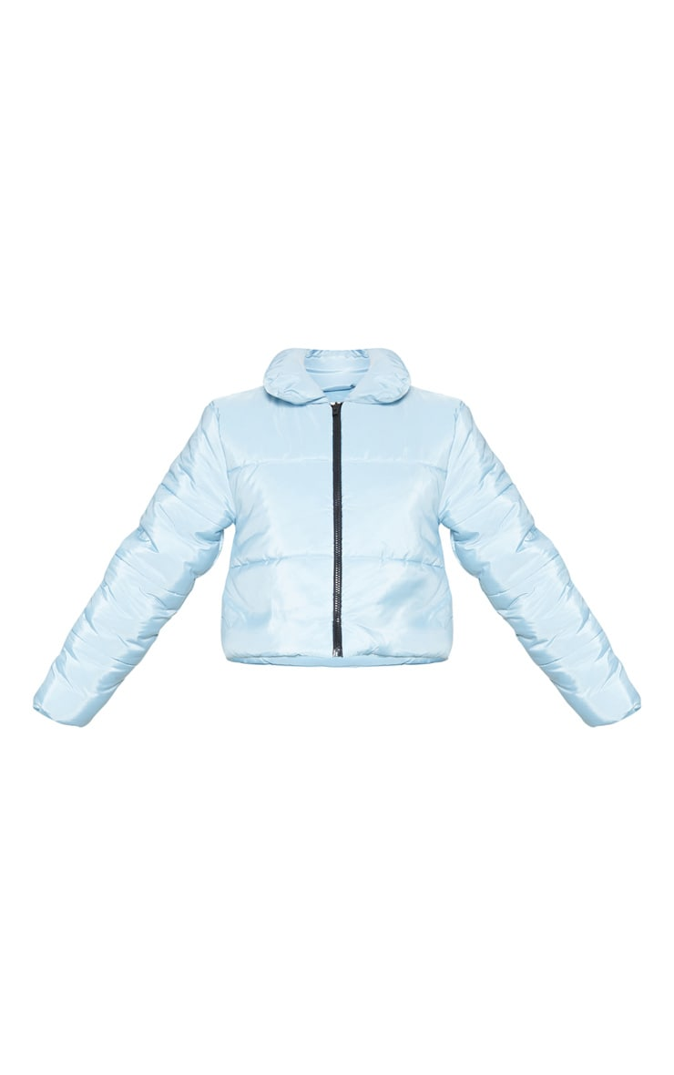 Baby Blue Cropped  Puffer Jacket 3