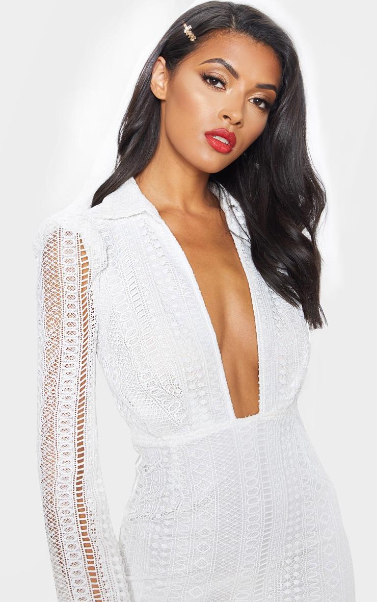 White Lace Plunge Neck Midi Dress 5