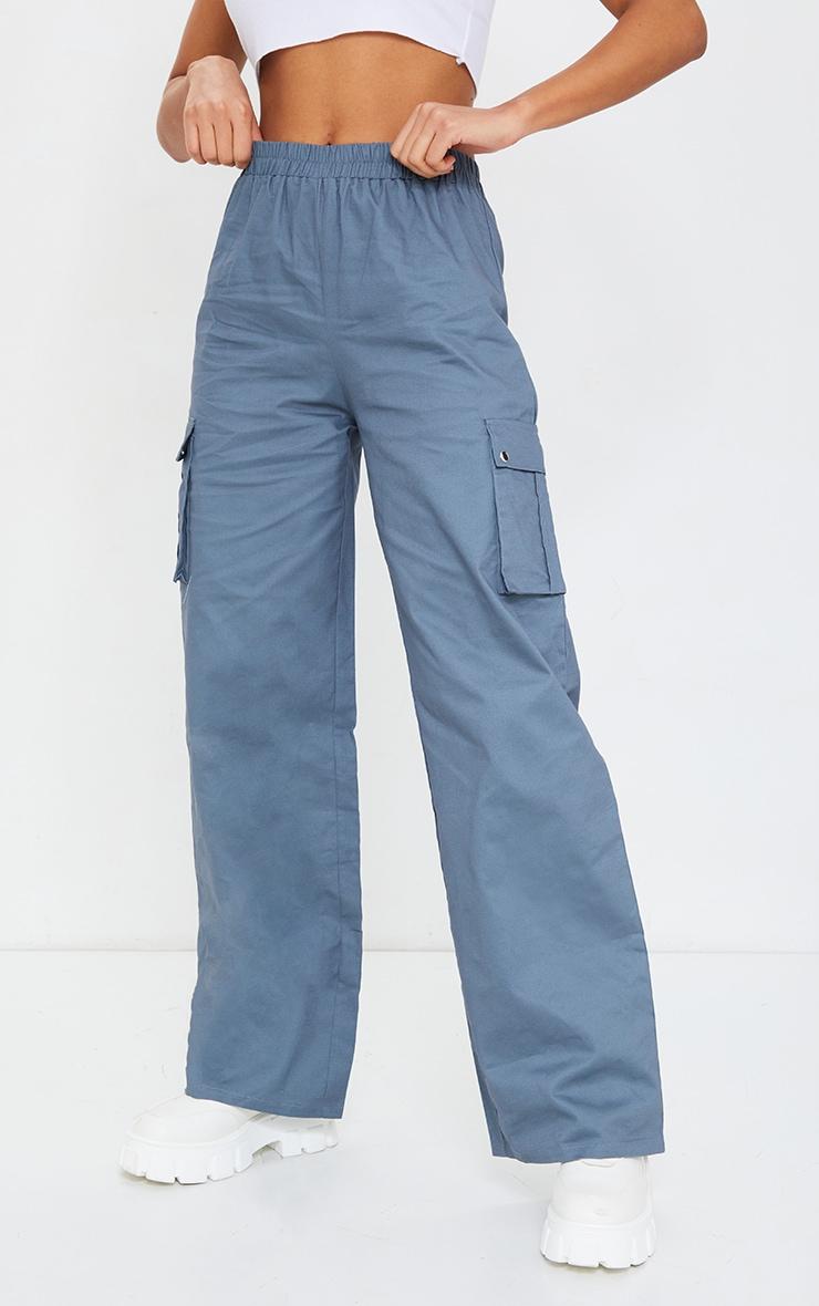 Blue Wide Leg Cargo Trousers 2