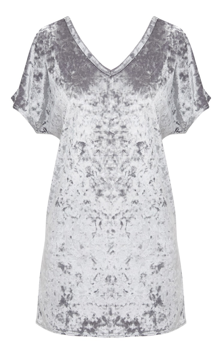 Grey Velvet V Neck T Shirt Dress 3