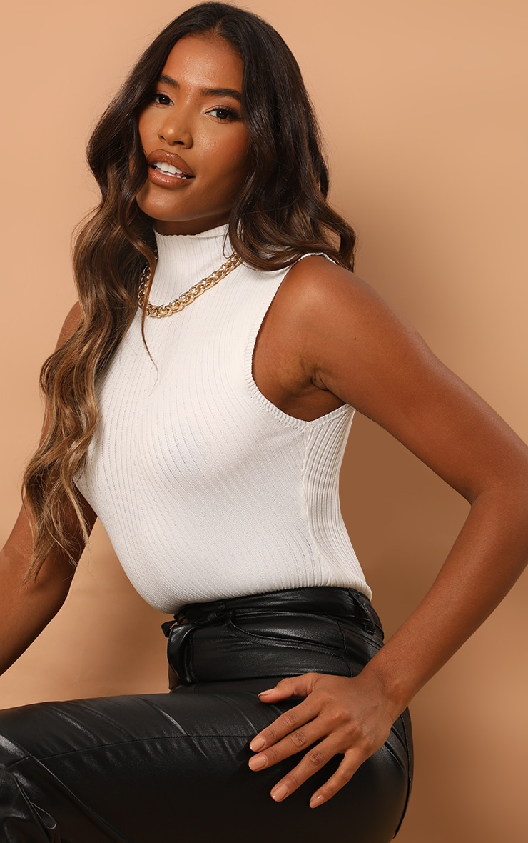 Cream Ribbed Knitted High Neck Bodysuit 1