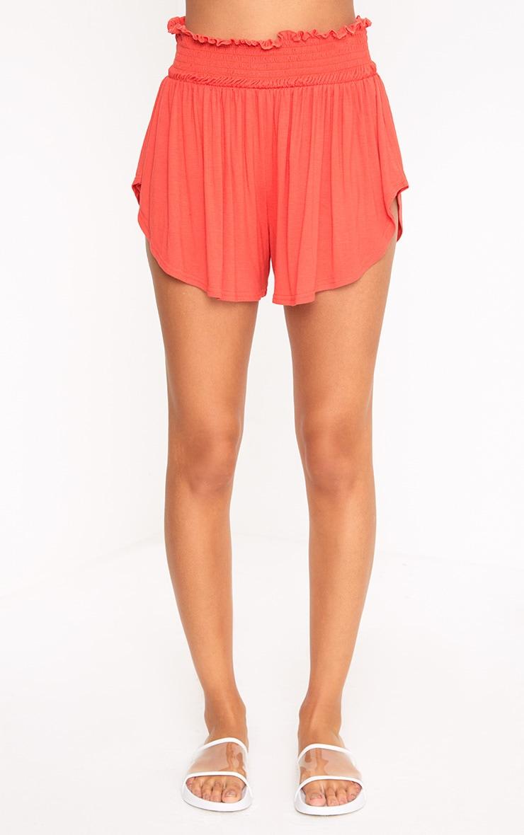 Orange Ruched Waist Floaty Shorts 2