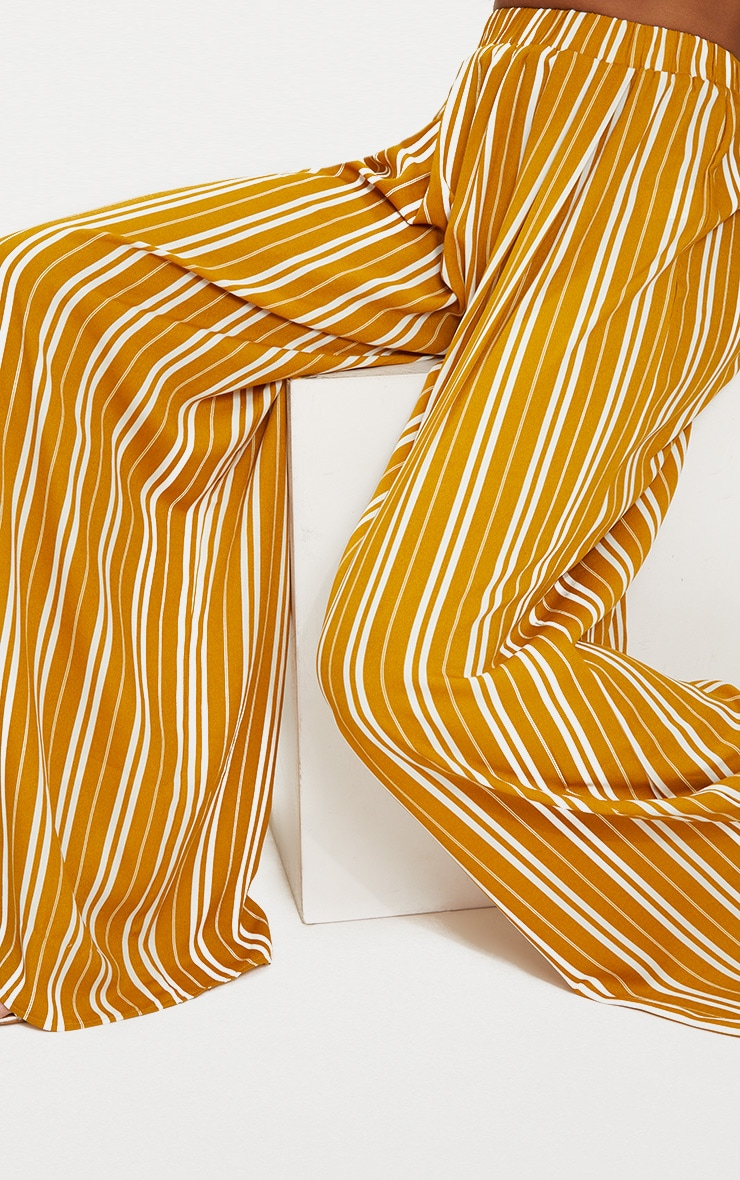 Mustard Formal Stripe Wide Leg Trouser  5