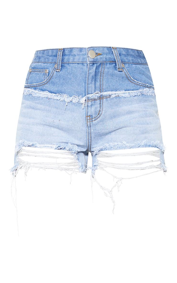 Mid Wash Two Tone Distressed Denim Shorts 3