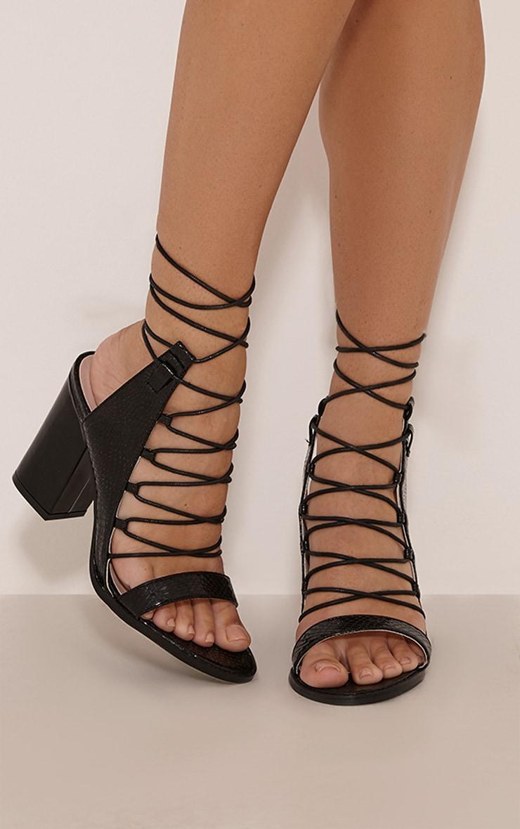 Lisa Black Snakeprint Lace Up Heeled Sandals 1