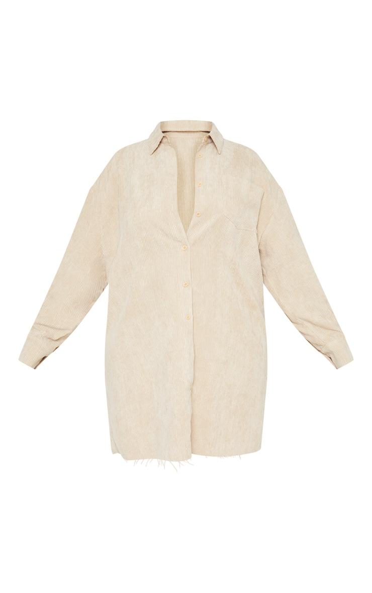 Plus Camel Corduroy Oversized Shirt Dress 3