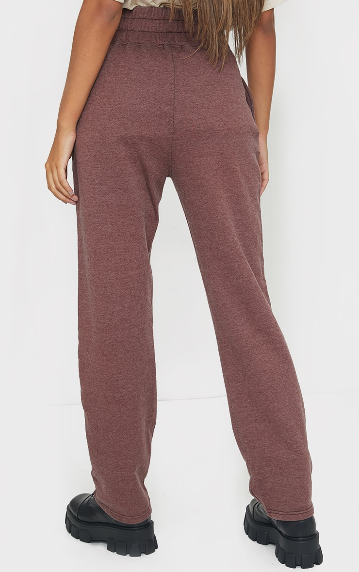 Brown High Waisted Washed Straight Leg Joggers 3