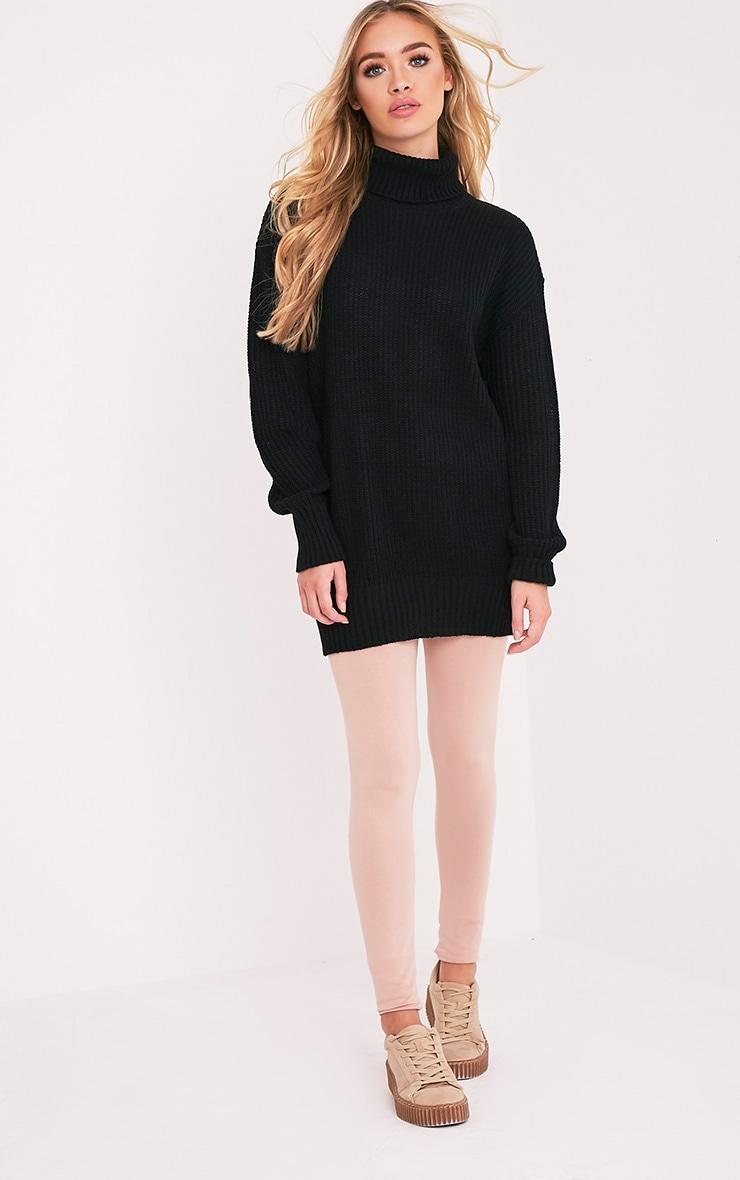 Zora pull noir tricoté surdimensionné à col roulé 5