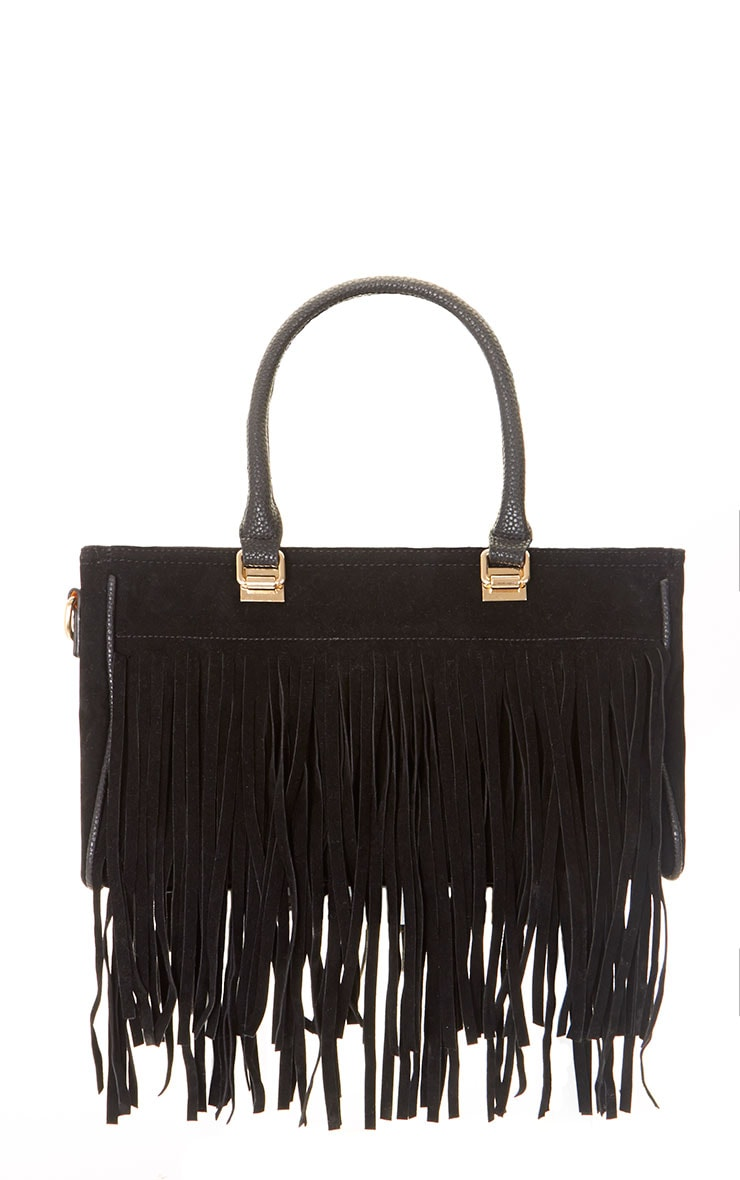Ivy Black Suedette Fringe Bag  1