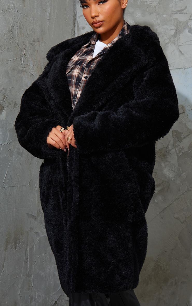 Black Teddy Faux Fur Hooded Coat 4