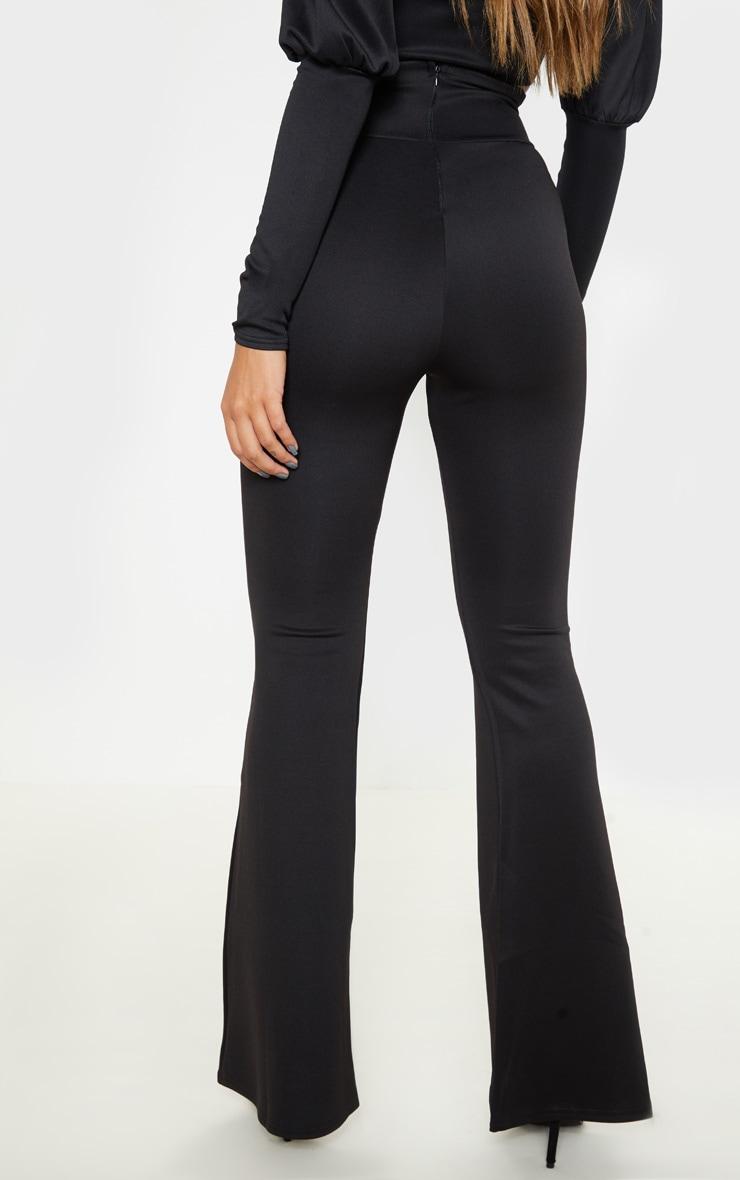 Black Scuba Curve Waist Band Detail Flared Pants  4