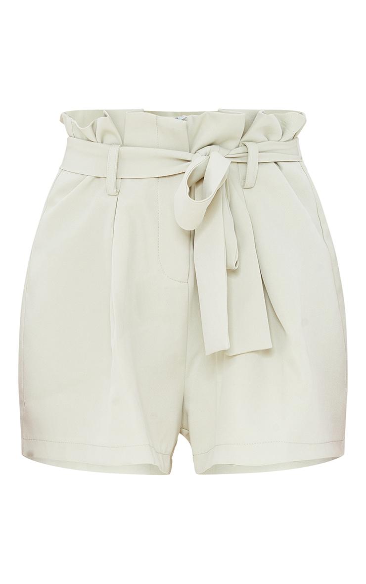 Sage Green Woven Paper Bag Tie Waist Shorts 6