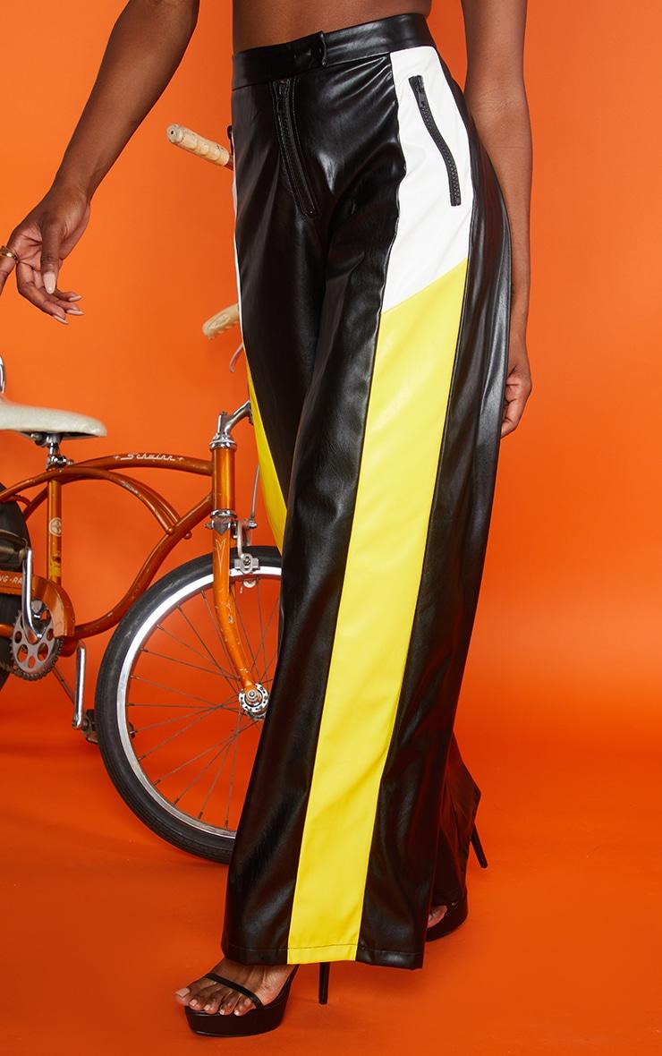 Pantalon ample en similicuir noir à rayures 4