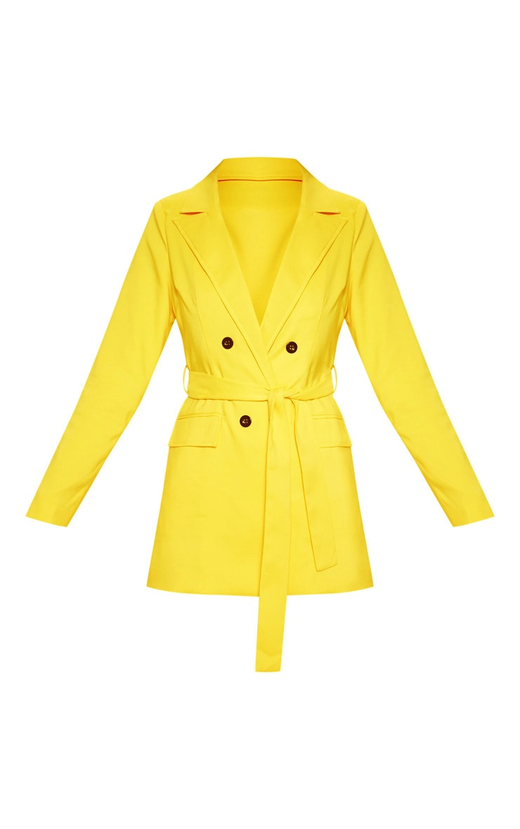 Bright Yellow Belted Long Line Woven Blazer    3