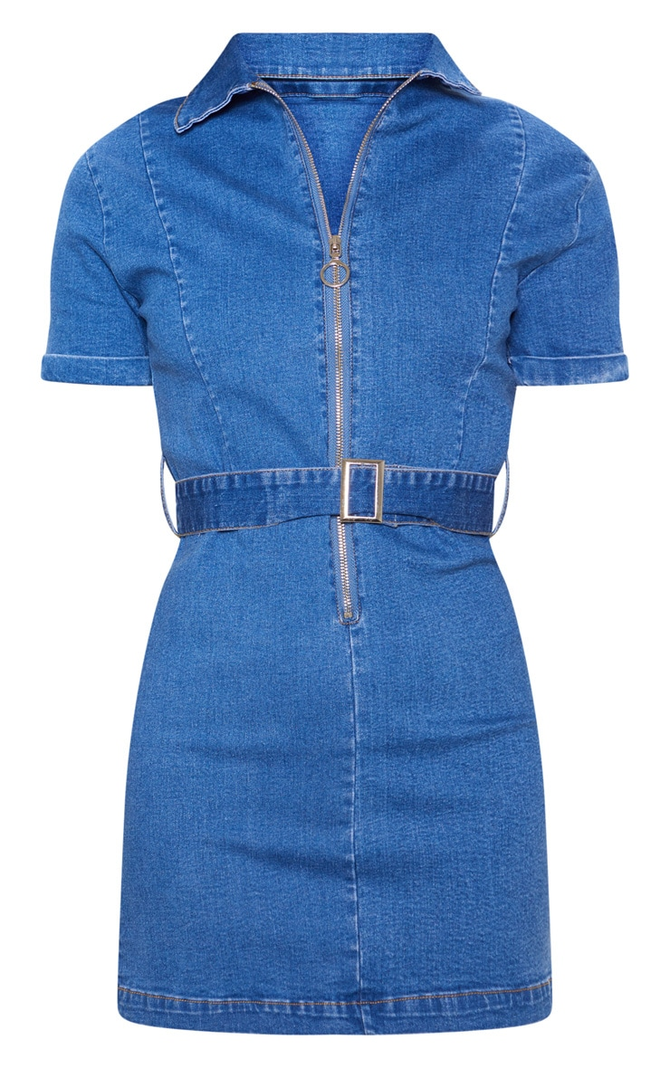 Mid Wash Zip Front Belted Denim Dress 3